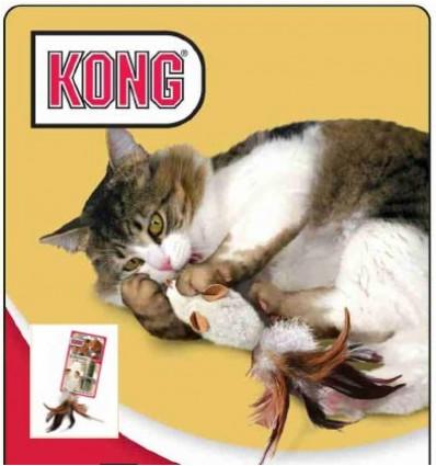 Brinquedo Kong Refillable Feather Rato p/ gatos (20 cm)