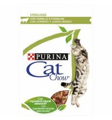 Purina Cat Chow Adultos Sterilised Húmidos c/ Borrego e Feijão Verde