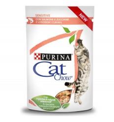 Purina Cat Chow Adultos Sensitive Húmidos c/ Salmão e Courgettes