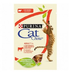 Purina Cat Chow Adultos Sensitive Húmidos c/ Salmão e Courgettes 85gr